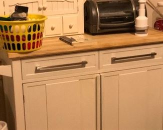 Great White kitchen Island with drop side extension