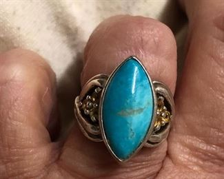 Sterling turquoise and citrine
