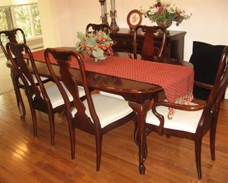 Sumpter Dining Room Table, Two Caption Chairs,  Four Chairs, and Two Leaves...