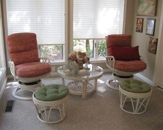 Really Nice Swivel Rocker Chairs with Ottomans, Side Table...
