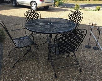 Wrought Iron Patio Set, Wrought Iron Glass Candle Holders...