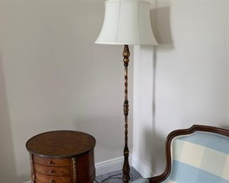 Floor lamp, brass with white shade and finial.