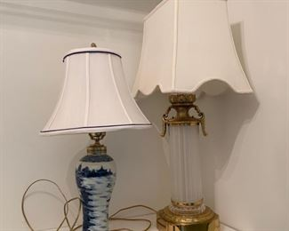 Table lamps, brass and ceramic with cream silk shades.