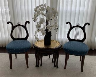Pair antique 19th Century lyre-back Chairs, upholstered in gold and blue honey bee fabric.