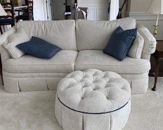 """Pair white couches, box pleats, by """"Sherrill Furniture""""."""