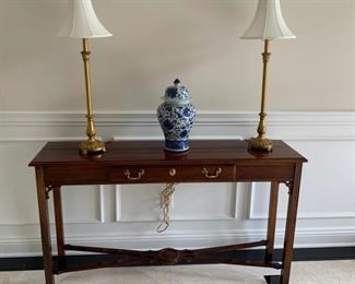 Console table, two drawer with brass hardware.