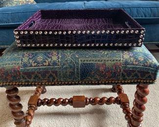 Purple faux-aligator tray with nailhead trim.