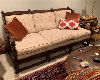 Settee, six cushion, upholstered in tiny flower calico fabric.