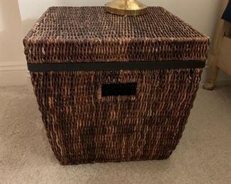 Wicker storage chest.