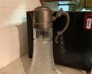 Pewter and crystal pitcher