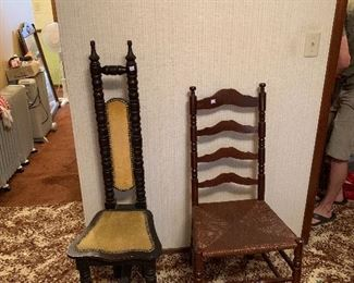 Oriental side chair and ladder back cain chair