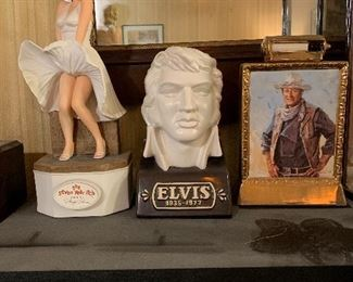 Marilyn Monroe,  Elvis and John Wayne decanters. Many other decanters available