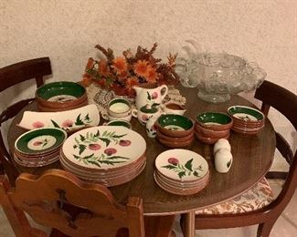 Mid Century Pottery, thistle pattern. More pieces were found after the photo was taken!  Punch bowl and cups, great for holiday parties!