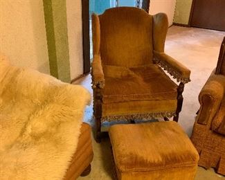 Rust fringed side chair and ottoman!