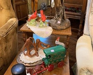 Cast iron horse and mail wagon, unique Knick Knacks.