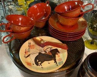 """plastic 6 place setting """"tea set""""? In Plastic round box"""