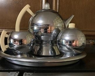 Mid Century electric percolator, cream and sugar on silver tray!