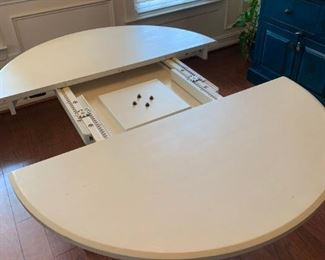 White, dining table with leaf.