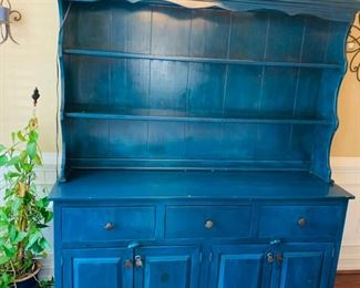 Painted sideboard/hutch/server by Scandinavian Designs with custom drawer pulls.