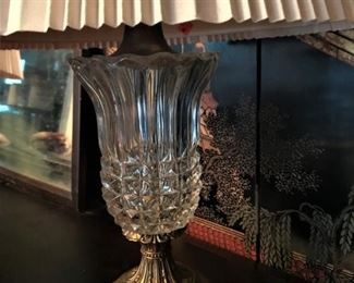 One of pair of crystal table lamps