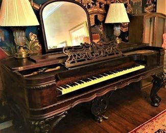 Antique Brazilian Rosewood Chickering Square Piano Forte (Grand Piano) Style 6