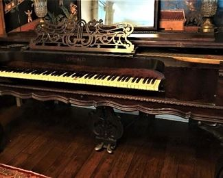 Another view of antique rosewood Chickering Square Grand Piano, Style 6