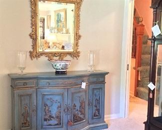 KARGES Chinoiserie Buffet,  Intricately Carved Wooden Mirror