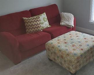 Red Sofa and Ottoman