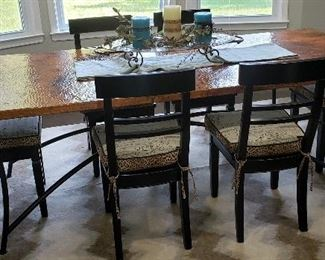 Custom Made Hammered Copper Dining Table from Texas