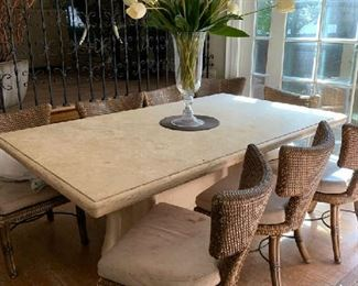 Kreiss Chairs (rough condition) and custom marble table
