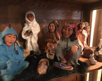 The hand sculpted Native American Nativity set