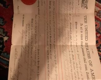 homesteading act document signed in two places by President Harrison Many more title and deed documents