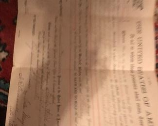 second homesteading act document signed by Prrisdent Harrison...many more title and deed documents and general turn of the century documents