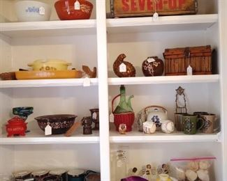 Vintage Pyrex pieces, Seven Up crate, Candles and more