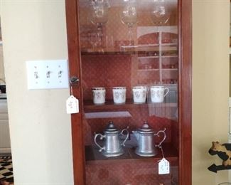 Tabletop or wall Curio Cabinet with 4 Shelves. Pewter Cream and Sugar, 4 Demitasse cups (no saucers), Swarorvski Owl on a Faberge stand, Vintage Ceramic Hound, marble rabbit