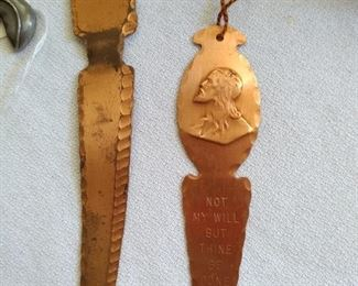 """Copper Letter opener and copper Book mark """"Not my will but Thine be done"""" Luke 22:42"""