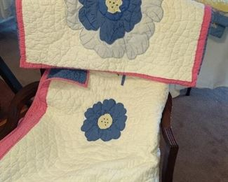 Full size Pottery Barn quilt and two pillow shams