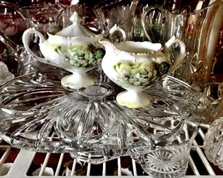 Decorative glass serving pieces