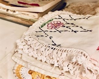 Antique & vintage linens, embroidered linens, runners, doilies