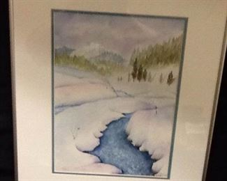 Cool Beauty in the Snow Framed Watercolor