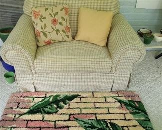 Loveseat and hand made rug.