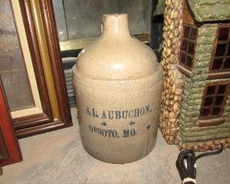 Crock jug- stamped   S. I. Aubuchon    Desoto, MO