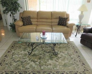 Dual Recliner Leather Sofa & Matching Love Seat, Wrought Iron Glass Top Coffee/End Tables