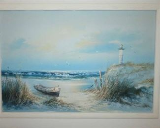 Light House Seascape Oil Painting