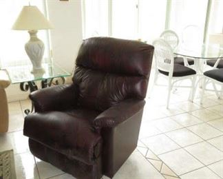 Burgundy Leather La-Z-Boy Recliner Rocker