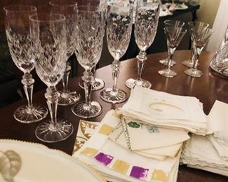 Beautiful vintage stemware through out the home. From white wines to champagnes