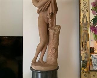 """64. Pair of 21"""" Clodion Terracotta Statues w/ Marble Base"""