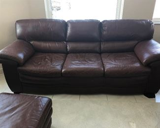 "FAMILY ROOM LEATHER COUCH 96"" L x 38"" D x 36"" H"