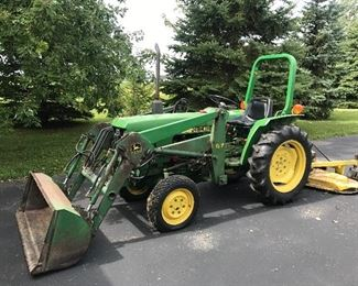 John Deere 750 Tractor w/ Mower Attachment & Bucket Loader~Yanmar Diesel Engine~Model 3T80UJ~Starts Right Up!