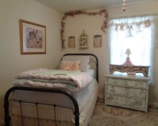 TWIN IRON BEDS AND GREAT DECOR
